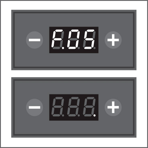 To disable or change timing (max 2 hours) of automatic switch off , access menu F.05