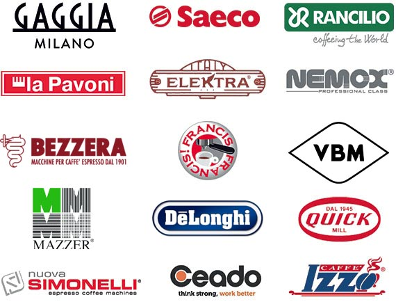 Authorized service and support-service centers for Gaggia, Saeco, Rancilio, La Pavoni, Elektra, Nemox, Isomac, Francis & Francis, KitcheanAid, Macap, Mahlkoenig, QuickMill, Nuova Simonelli, Ceado, Izzo Cafè